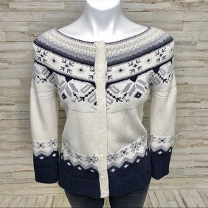Sundance Snap Front Fair Isle Nordic Sweater S
